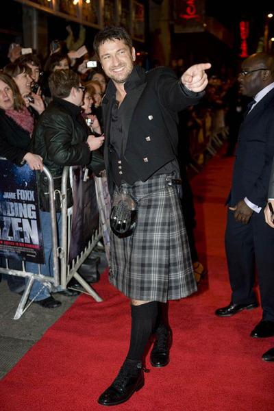 Gerard Butler in a kilt