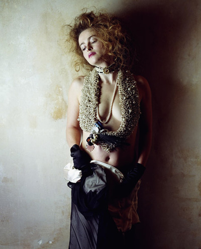 Helena Bonham Carter in beaded scarf