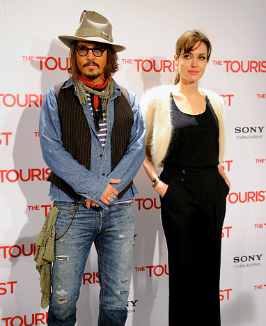 Angelina Jolie and Johnny Depp, Standing Next To Each Other
