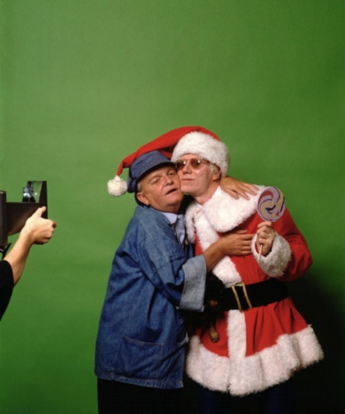 Truman Capote and Andy Warhol pose for publicity stills for their new Broadway show, Gay Apparel