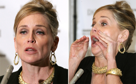 Sharon Stone goes Om Nom Nom