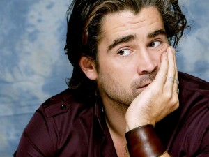 Colin Farrell looks askance at Brad Pitt