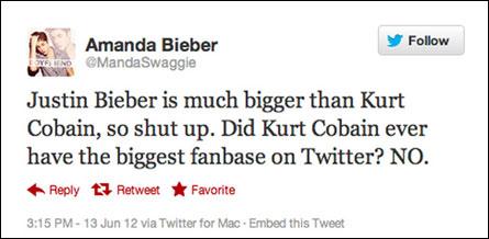 Bieber vs Cobain Twitter Wars