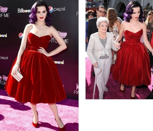Katy Perry in red velvet