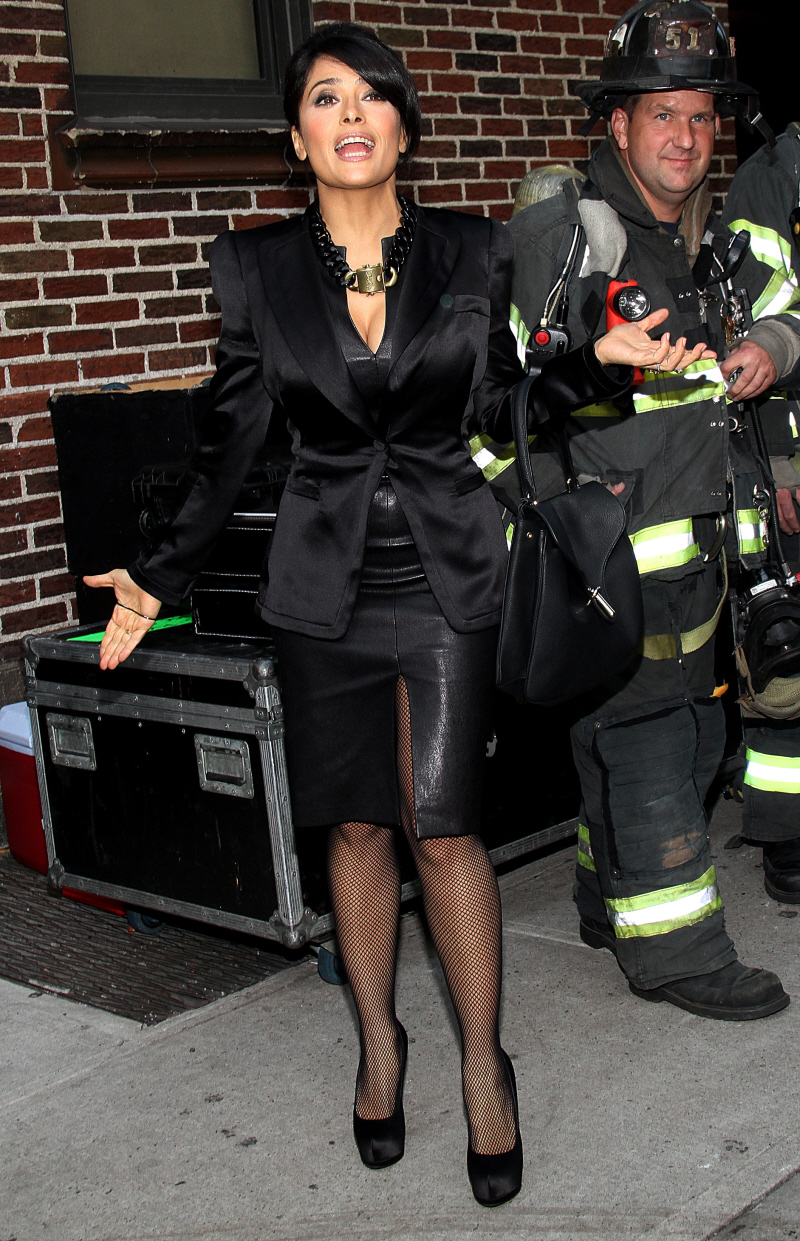 Salma Hayek and a fireman