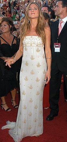 Jennifer Aniston wore a white dress maybe
