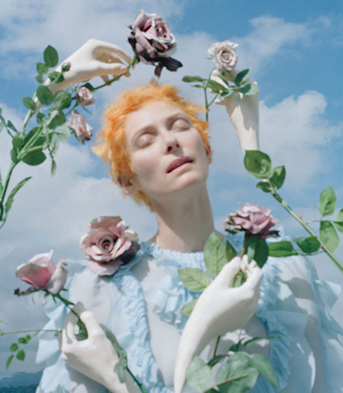 Tilda Swinton as a PreRaphaelite Surrealist object