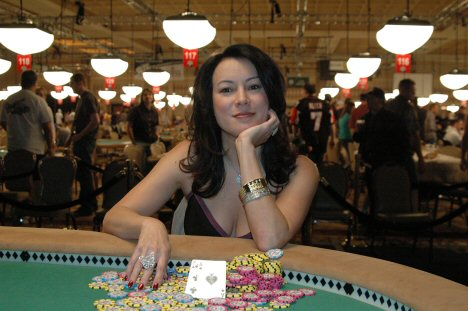 Jennifer Tilly, an a pile of her poker winnings.